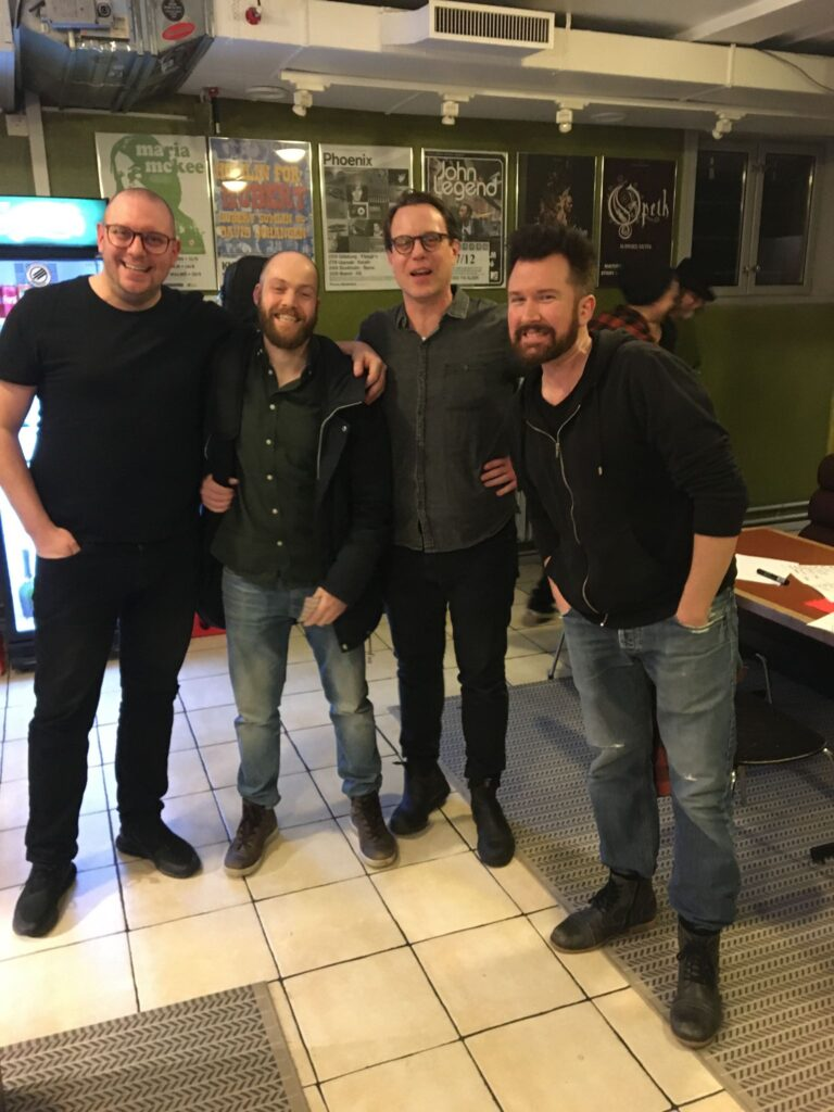 Original Deville line-up gathered. From left: Markus Nilsson,Martin Hambitzer,Markus Åkesson and Andreas Bengtsson . Photo by Nicole Löhrmann